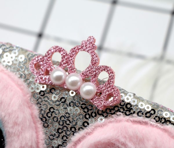Меховая маска для сна Сова серо-розовая
