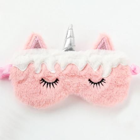 Меховая маска для сна розовый единорог с белой челкой