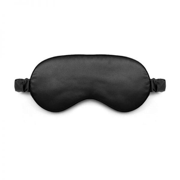 Шелковая маска для сна черная с декорированной резинкой