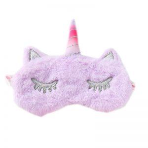 Меховая маска для сна лиловый единорог