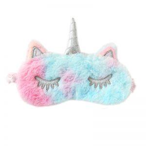 Меховая маска для сна переливчатый розово-голубой единорог