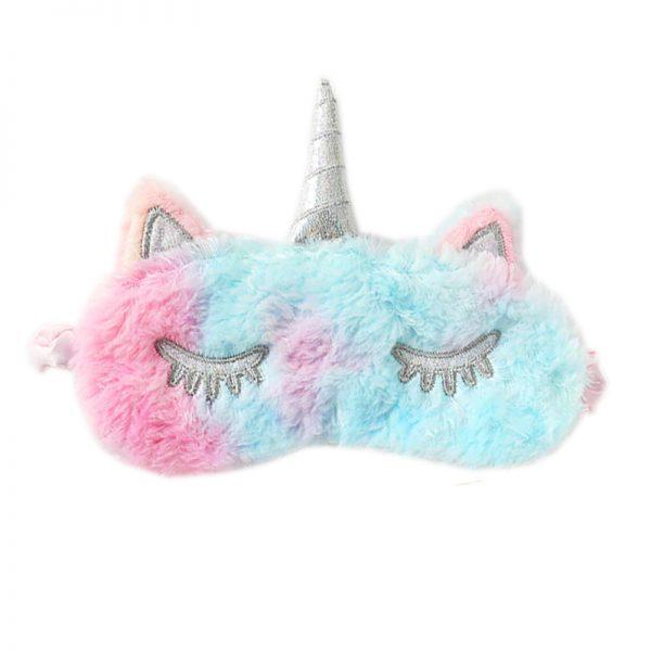 Меховая маска для сна розово-голубой единорог
