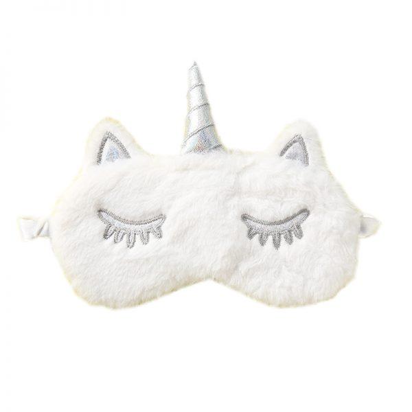 Меховая маска для сна белый единорог с серебряным рогом и глазами