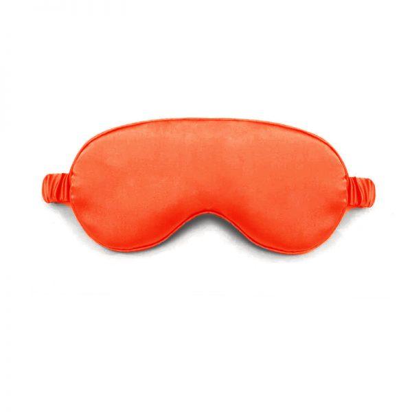 Шелковая маска для сна красная с декорированной резинкой
