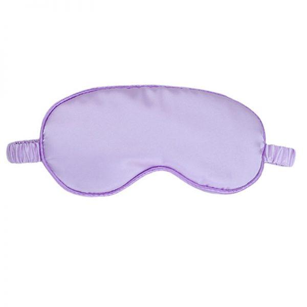 Шелковая маска для сна лиловая с декорированной резинкой