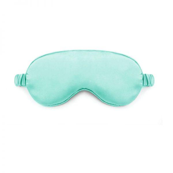 Шелковая маска для сна зелено-голубая с декорированной резинкой