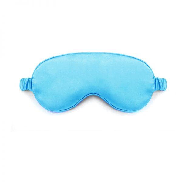 Шелковая маска для сна ярко голубая с декорированной резинкой