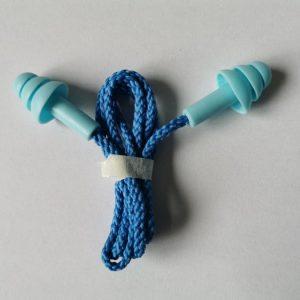 Беруши защитные силиконовые на шнурке синие