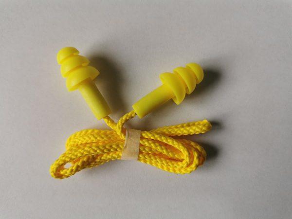 Беруши защитные силиконовые на шнурке желтые