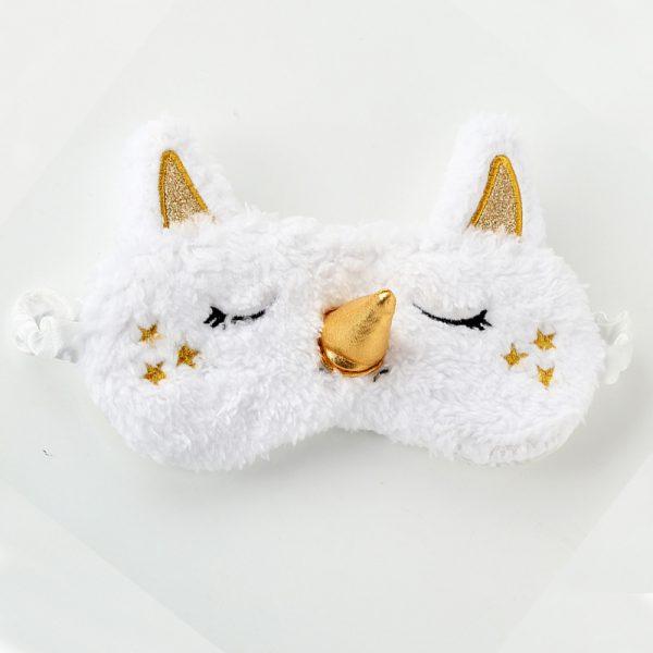 Меховая маска для сна белый единорог с золотым вертикальным рогом