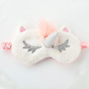 Меховая маска для сна белый единорог с вертикальным рогом и розовой челкой