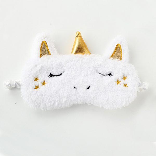 Меховая маска для сна белый единорог с золотым рогом и звездами на щеках