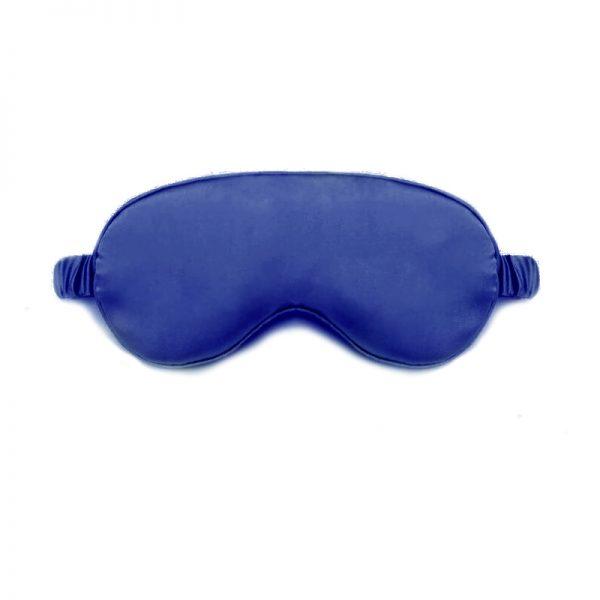 Шелковая маска для сна темно-синяя с декорированной резинкой