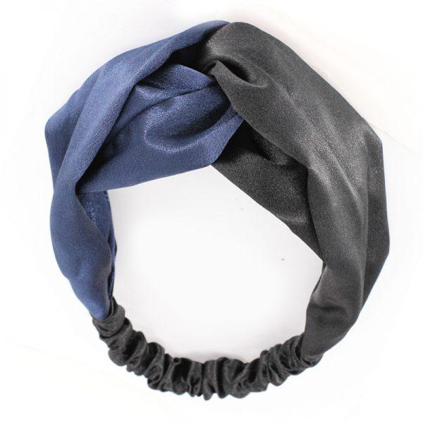 Атласная повязка с перехлестом на голову черно-синяя