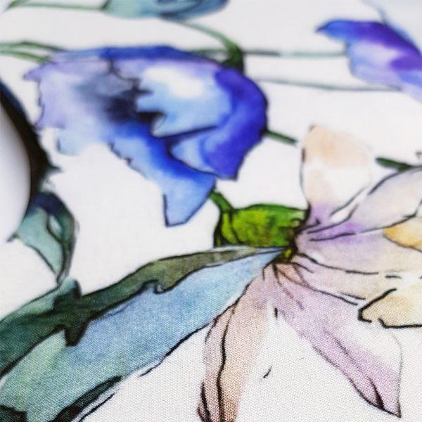 """Маска для сна """"Цветы на белом"""" из итальянского шелка и вискозы"""