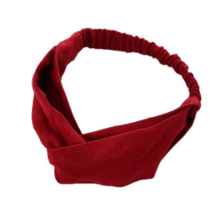 Атласная повязка с перехлестом на голову красная однотонная