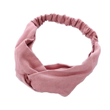 Атласная повязка с перехлестом на голову розовая однотонная