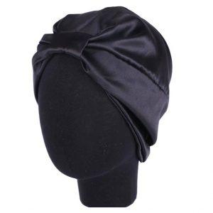 Шапочка для сна из искусственного шелка черная