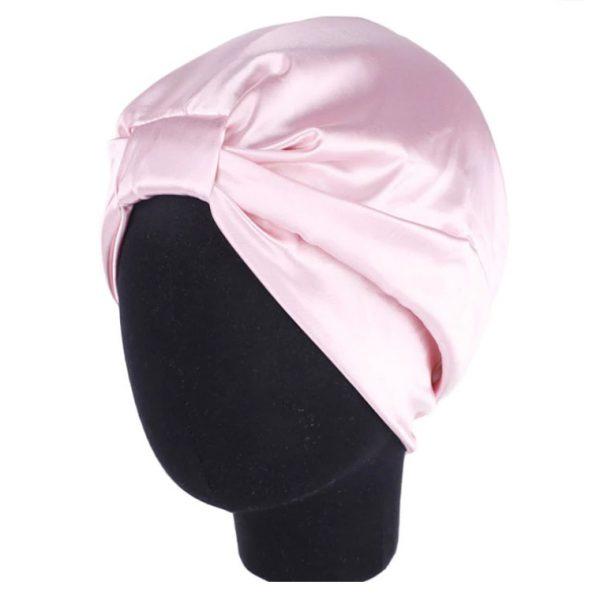 Шапочка для сна из искусственного шелка светло-розовая