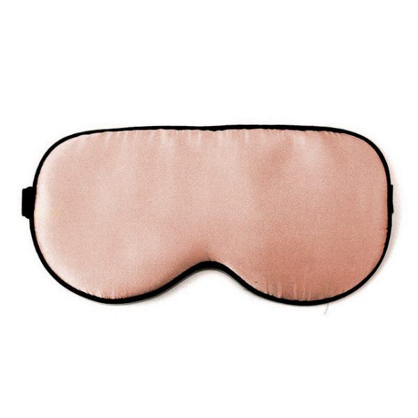 Шелковая маска для сна розово-коричневая увеличенной ширины