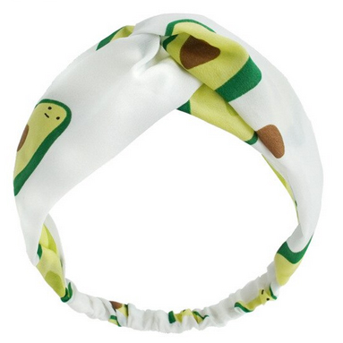 Повязка с перехлестом на голову белая с авокадо