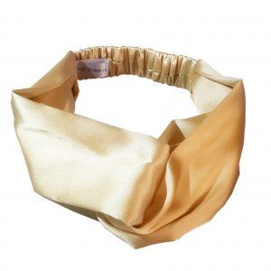 """Эксклюзивная повязка с перехлестом на голову """"Миндальный крем"""" из итальянского шелка"""