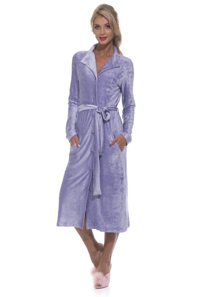Велюровый халат на пуговицах De Soie (PM 397)