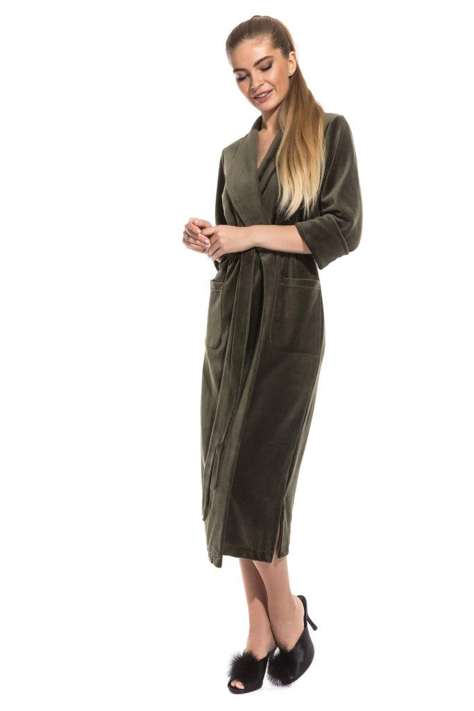 Удлиненный велюровый халат (E 383)