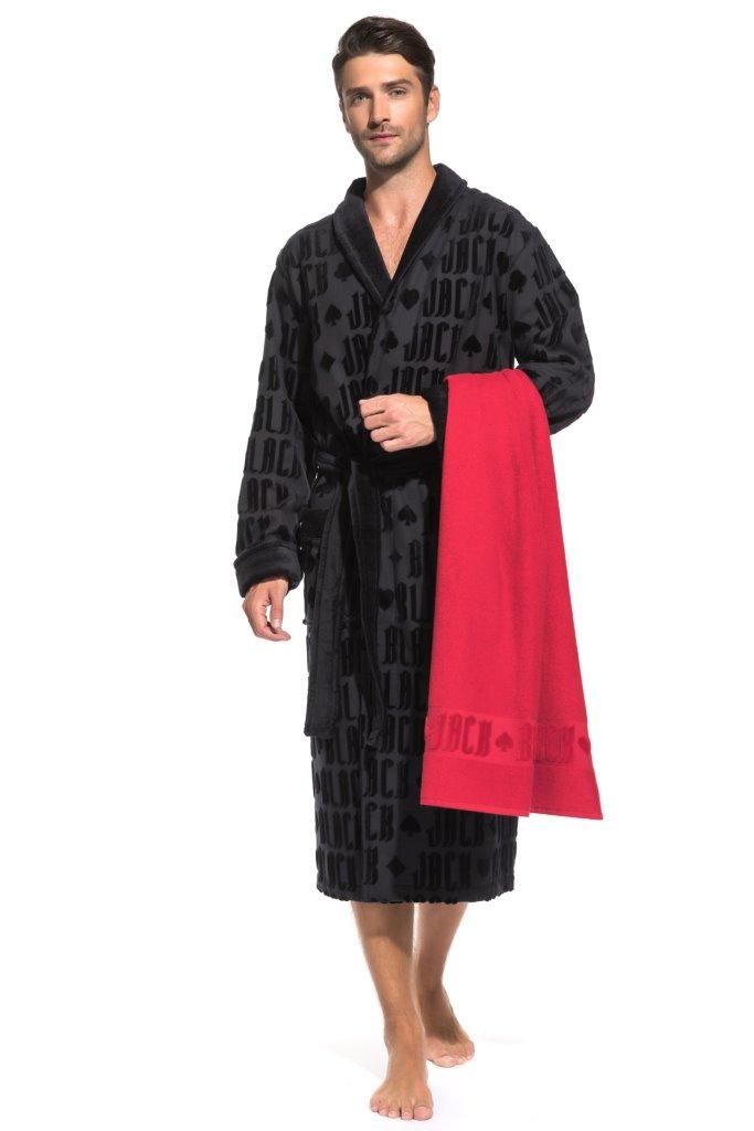 Набор: махровый халат и полотенце Black Jack в подарочной коробке (PM France)