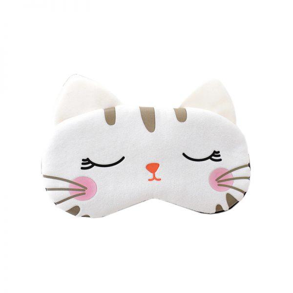 Маска для сна веселая белая кошка с ушками