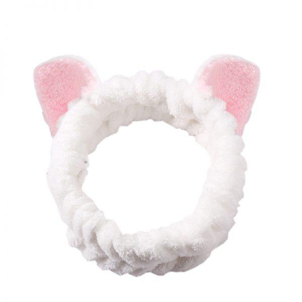 """Плюшевая повязка на голову """"Белая с кошачьими ушками"""""""