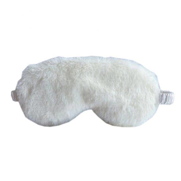 Меховая маска для сна белая с декорированной резинкой
