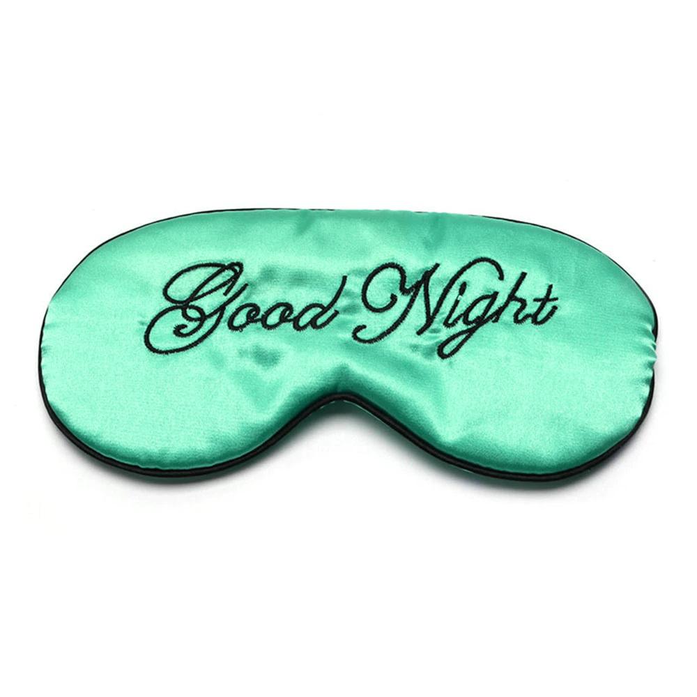 Шелковая маска для сна зелено-голубая «Good night»