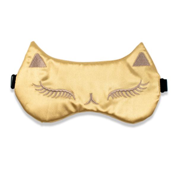 """Шелковая маска для сна с вышивкой """"Кошка"""" золотая"""